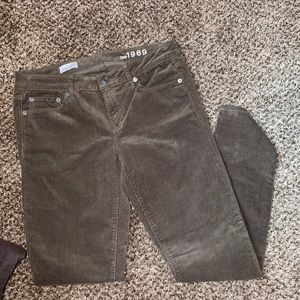 GAP green/brown corduroy skinny jeans